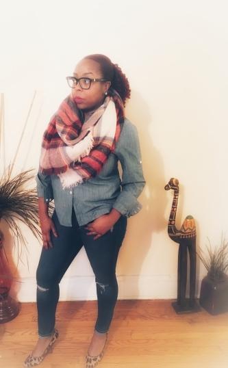 Akira blanket scarf, Old Navy denim jeans & shirt